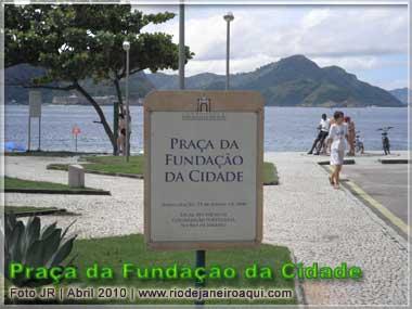Placa sinalização o local de fundação da Cidade do Rio de Janeiro