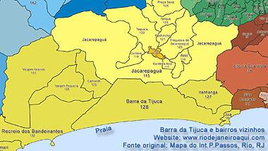 Mapa dos limites atuais da Barra da Tijuca e bairros vizinhos