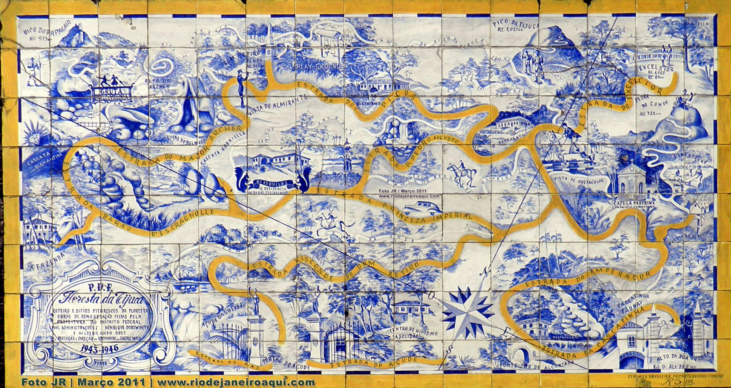 mapa da floresta da tijuca em painel de azulejos rio de