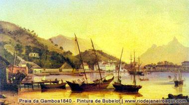 Praia da Gamboa em 1840, pintura de Buvelot