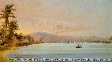 Praia do Flamengo em 1878 - Pintura a óleo de Facchinet