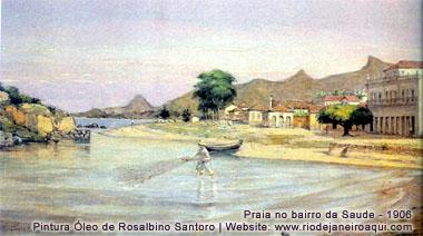 Praia no bairro da Saúde em 1906