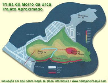 Mapa da trilha do Morro da Urca