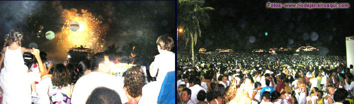 Festa de Ano Novo e queima de fogos nas areias de copacabana