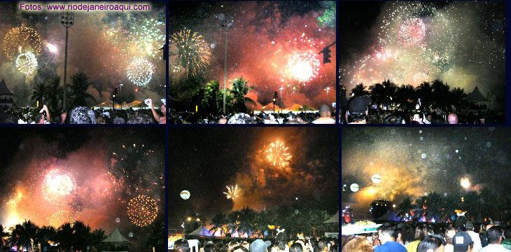 Fotos da queima de fogos de 2008 no Rio de Janeiro, em Copacabana