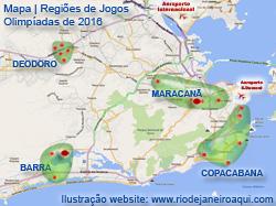 Mapa dos Jogos Olímpicos de 2016 no Rio de Janeiro